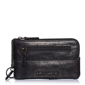 Gianni Conti Black Leather Key Holder with External Pocket