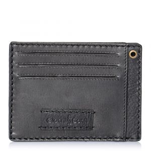 Gianni Conti Black Leather Wallet with Pocket for Men