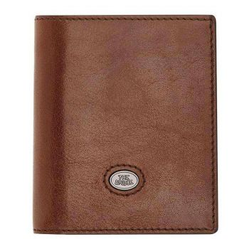 THE BRIDGE Lorenzo Line – Small Brown Leather Vertical Wallet with Flap Made in Italy