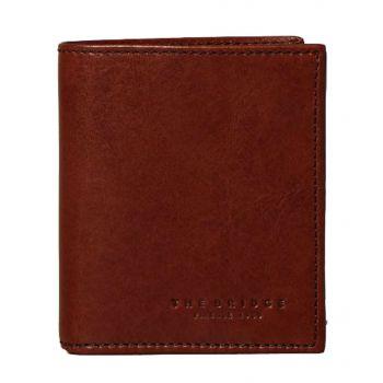 THE BRIDGE Lapo Line – Blue Brown Leather Vertical Wallet for Men