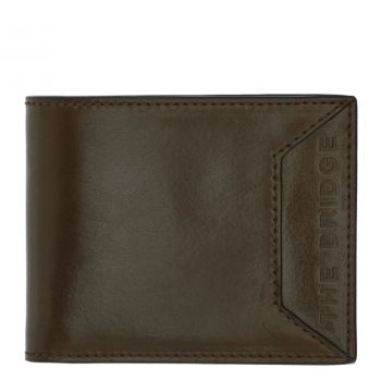 THE BRIDGE Bufalini Line – Small Military Green Leather Card Holder for Men