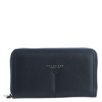 THE BRIDGE Belleville Line – Blue Navy Leather Wallet with Zip Fastening