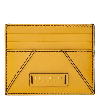 THE BRIDGE Tintori Line - Lemon Yellow Leather Card Holder Made in Italy
