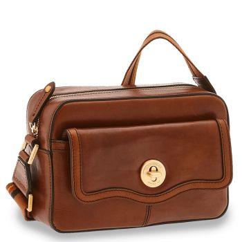 THE BRIDGE Agnese Line – Brown Leather Crossbody Bag
