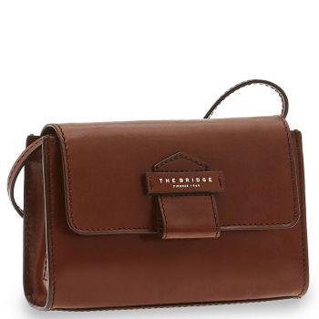 THE BRIDGE Brown Leather Woman Mini Cross-body Bag Cernaia Line