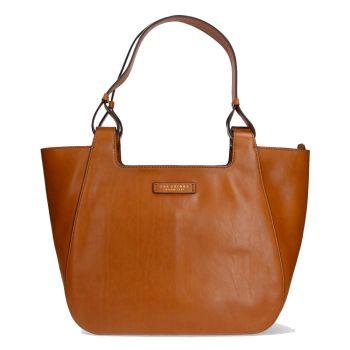 THE BRIDGE Lucia Line – Cognac Leather Tote Bag for Women