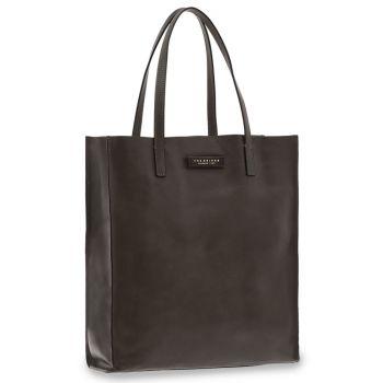 THE BRIDGE Mirra Line – Black Leather Tote Bag