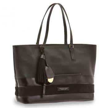 THE BRIDGE Ognissanti Line – Medium Black Leather Tote Bag for Her 4476690F30