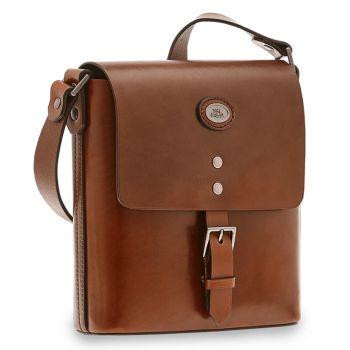 THE BRIDGE Lorenzo Line – Brown Leather Crossbody Bag for Men