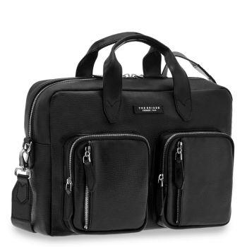 THE BRIDGE Bolgheri Line – Black Tumbled Leather Portfolio Pc Bag Made in Italy