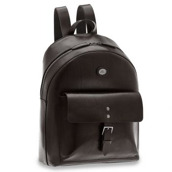THE BRIDGE Lorenzo Line – Black Leather Backpack with Pc Compartment for Men