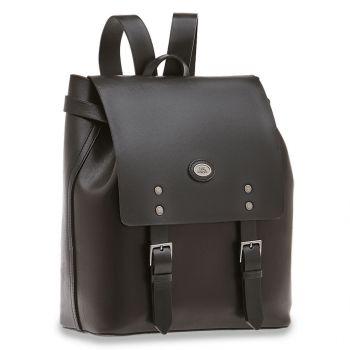 THE BRIDGE Lorenzo Line – Black Leather Backpack for Men
