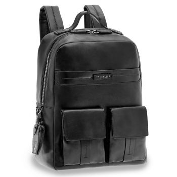 """THE BRIDGE Serristori Line - Black Leather 14"""" Laptop Backpack Made in Italy"""