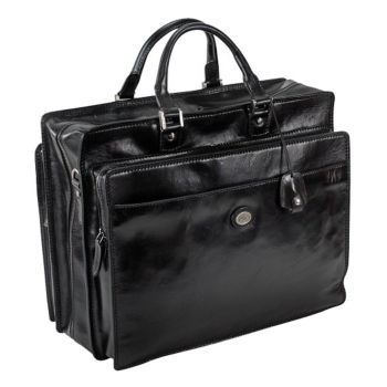 """THE BRIDGE Story Line – Black Leather Briefcase for 17"""" Pc Made in Italy"""