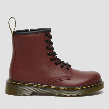 DR. MARTENS 1460 J Line – Red Leather Boots for Kids