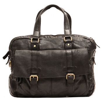 """Gianni Conti Black Leather Messanger for 15 """" Pc"""