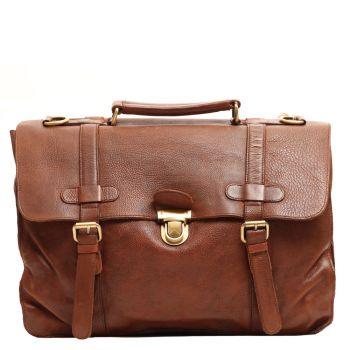 """Gianni Conti Cognac Leather Messanger for 15 """" Pc"""