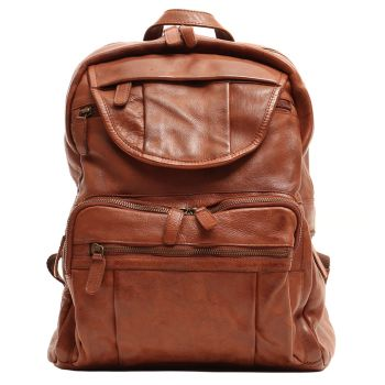 "GIANNI CONTI Vintage Line - Cognac Leather 13"" Laptop Backpack"