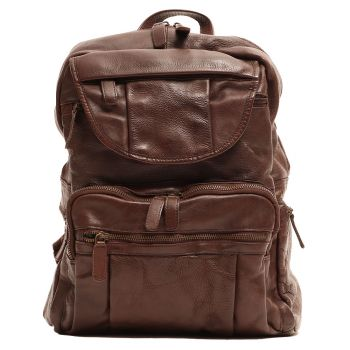 """GIANNI CONTI Vintage Line - Brown Leather 13"""" Laptop Backpack"""