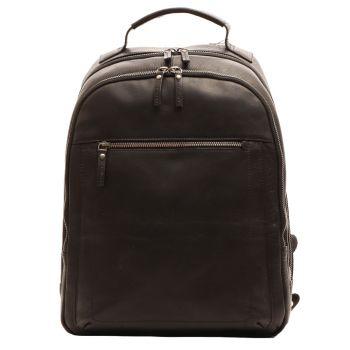 """GIANNI CONTI - Black Leather 14"""" Laptop Backpack"""