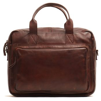 """GIANNI CONTI - Brown Leather 14"""" Laptop Briefcase"""