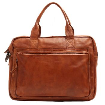 "GIANNI CONTI - Cognac Color Leather 14"" Laptop Briefcase"