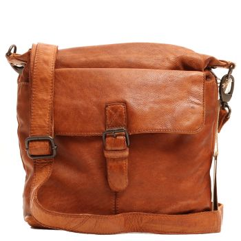 """Gianni Conti Cognac Leather Crossbody Bag for 9.5"""" Tablet"""