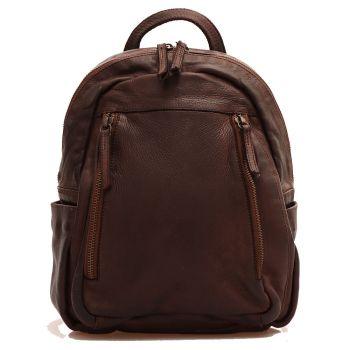Женский рюкзак из гладкой коричневой кожи - GIANNI CONTI