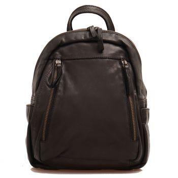 Женский рюкзак из гладкой кожи черного цвета, GIANNI CONTI