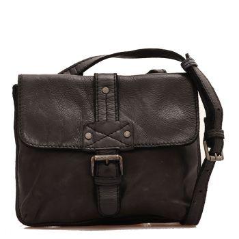 Женская сумка через плечо из гладкой, черной кожи - Gianni Conti