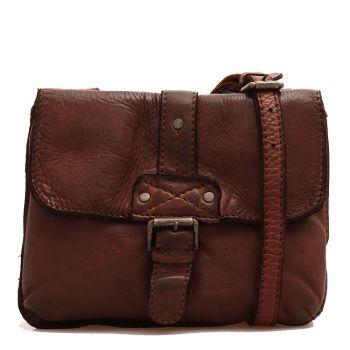 Женская сумка через плечо из гладкой, шоколадной кожи - Gianni Conti