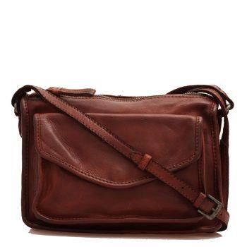 Женская сумка-мессенджер  через плечо, из гладкой кожи шоколадного цвета - GIANNI CONTI