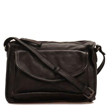 Женская сумка-мессенджер  через плечо, из гладкой кожи черного цвета -  GIANNI CONTI
