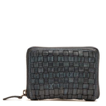 Маленький женский бумажник на молнии из плетеной джинсовой кожи - Gianni Conti