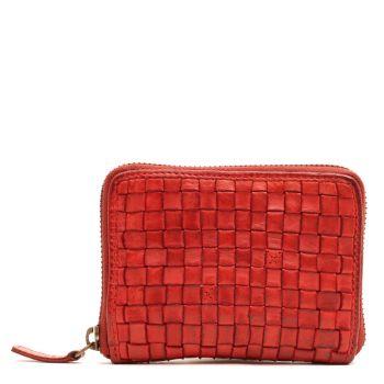 Маленький женский бумажник  на молнии из красной плетеной кожи - Gianni Conti