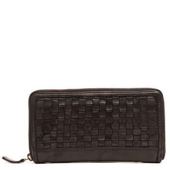 GIANNI CONTI - Black Woven Leather Zip Around Wallet