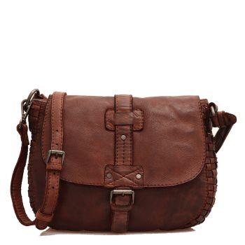 Женская сумка через плечо из гладкой и плетеной кожи шоколадного цвета - GIANNI CONTI