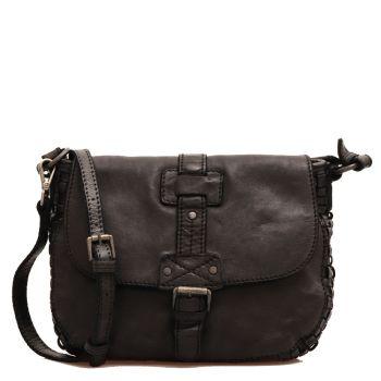 Женская сумка через плечо из гладкой и черной плетеной кожи - GIANNI CONTI