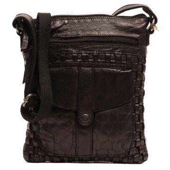 GIANNI CONTI - Black Leather Unisex Crossbody Bag