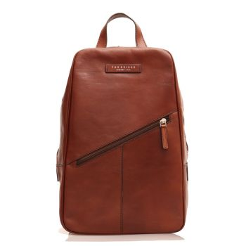 THE BRIDGE Passpartout Line - Brown Leather Mono Sling Backpack Made in Italy