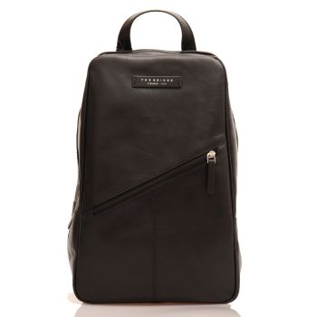THE BRIDGE Passpartout Line - Black Leather Mono Sling Backpack Made in Italy
