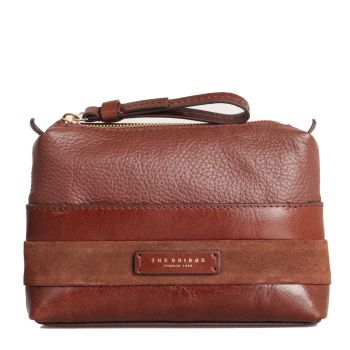 THE BRIDGE Ognissanti Line – Brown Leather Necessaire Made In Italy 4976190FE8