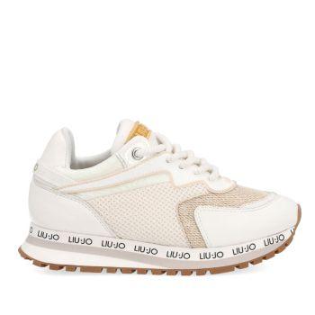 LIU JO Wonder 162 Line – Junior White Mesh Suede Sneakers