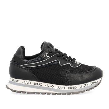 LIU JO Wonder 162 Line – Junior Black Mesh Suede Sneakers