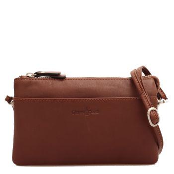 Женская сумочка через плечо из гладкой, коричневой кожи - Gianni Conti