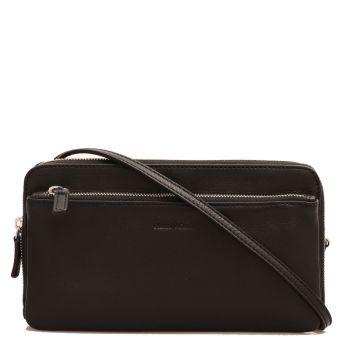 Женская сумочка через плечо из гладкой, черной кожи - Gianni Conti