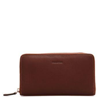 Женский бумажник на молнии в коричневой коже - Gianni Conti