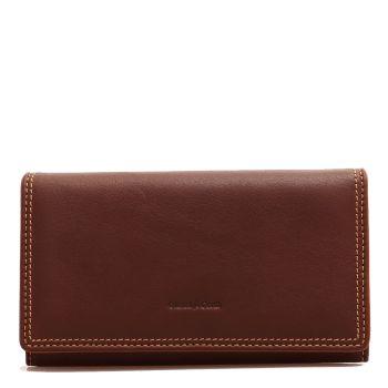 Женский бумажник на молнии из плетеной кожи, коричневого цветa - Gianni Conti