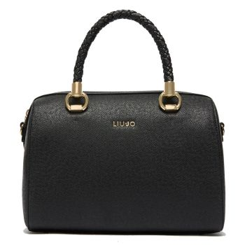 LIU JO Black Boston Bag with Interwoven Handles