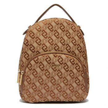 LIU JO Brown Jacquard Backpack AF1159